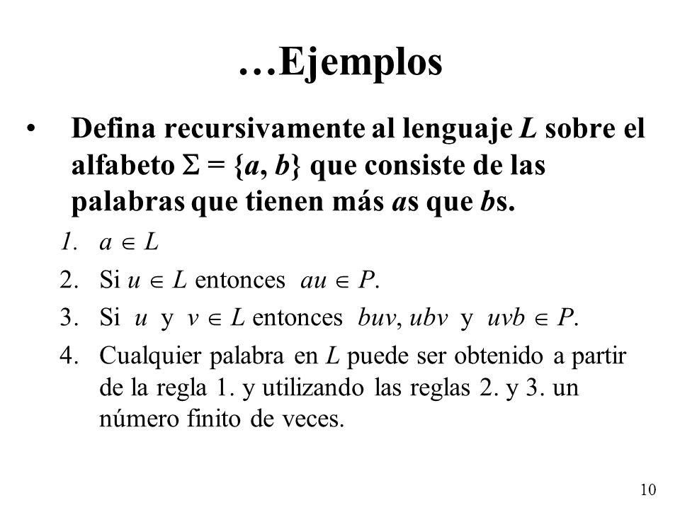 9 …Ejemplos: Palíndromos Palíndromos: palabra o frase que se lee igual de derecha a izquierda, que de izquierda a derecha –anilina –dábale arroz a la