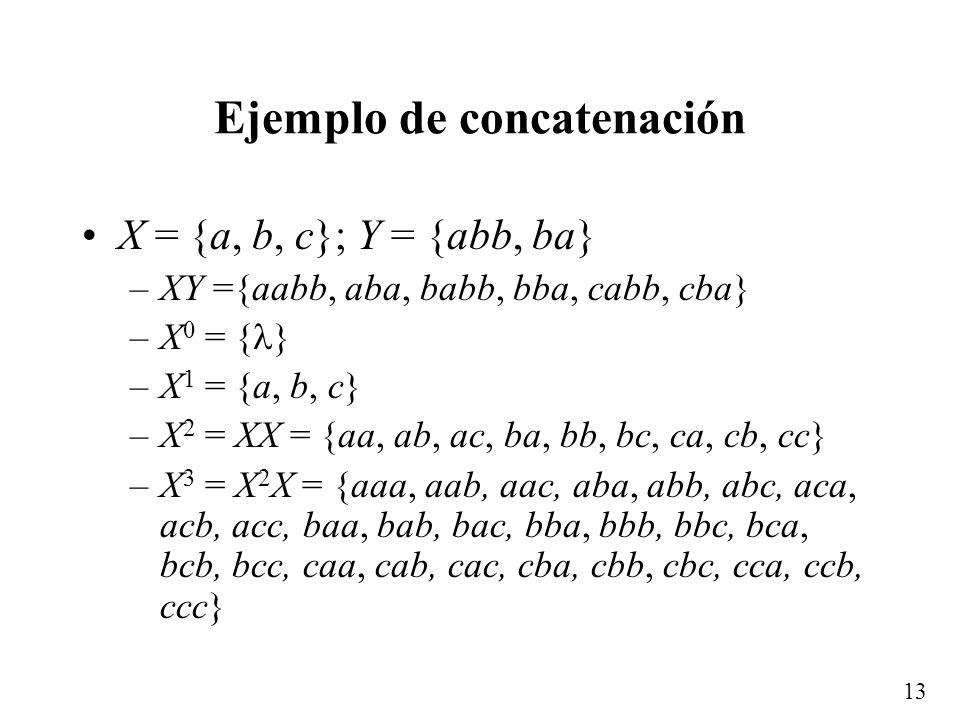 12 Concatenación de lenguajes L 1 L 2 = {w | w = xy, x L 1 y y L 2 } Para un lenguaje L: –L 0 = { } –L 1 = L –L 2 = L L –L 3 = L L L –... –L * = L 0 L