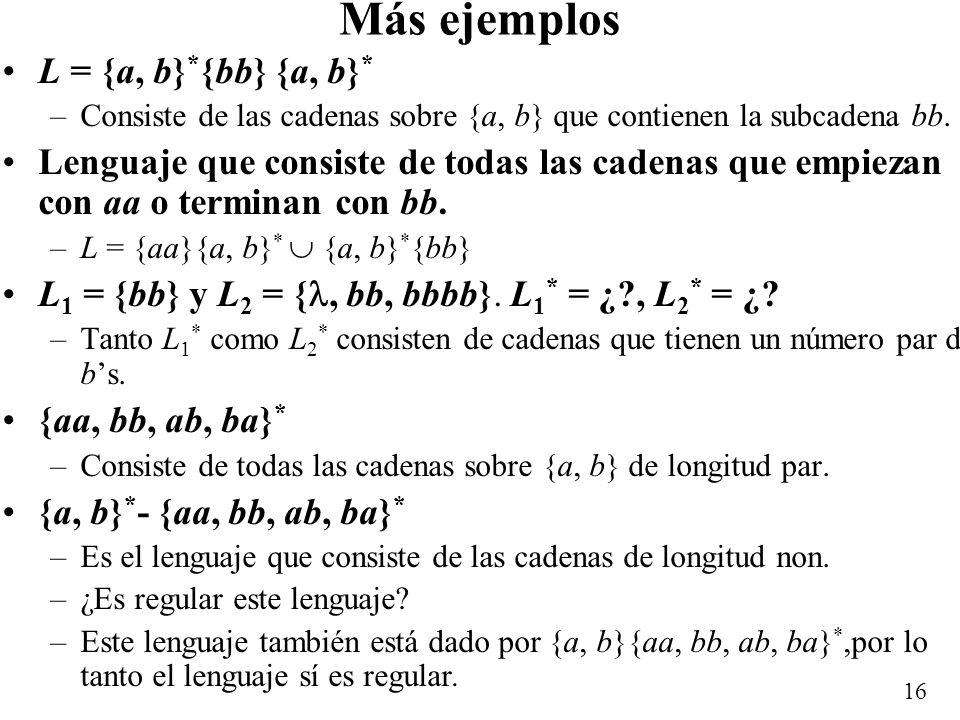 15 Contraejemplo L = {0, 00} –L 0 = { } –L 1 = {0, 00} –L 2 = {00, 000, 0000} –L 3 = {000, 0000, 00000, 000000} –L 4 = {0000, 00000, 000000, 0000000,