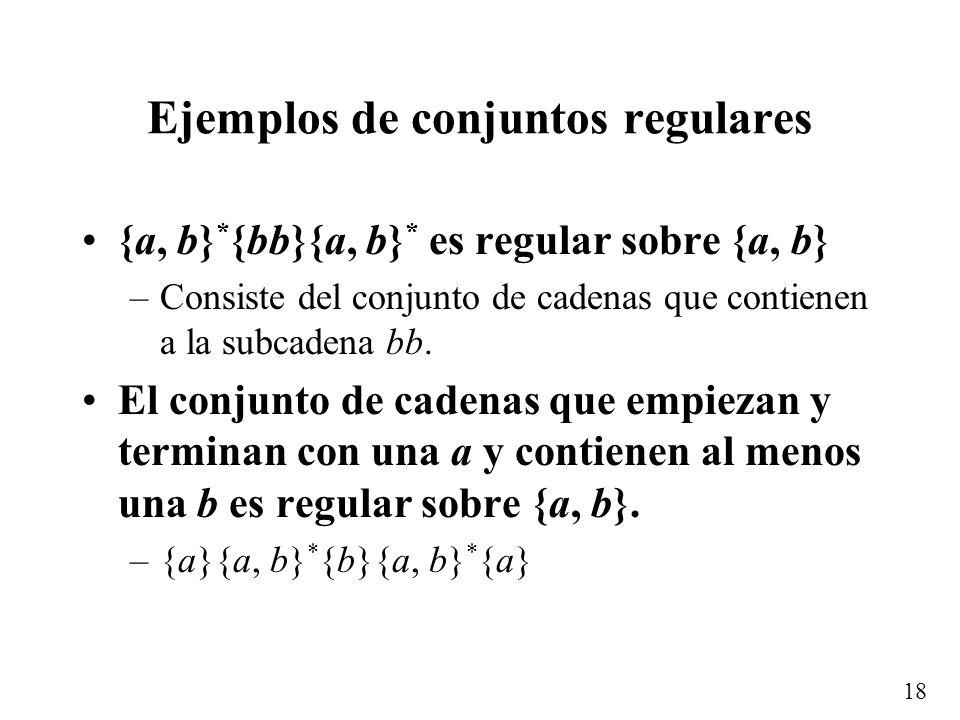 17 Conjuntos regulares Un conjunto es regular si 1.Es el conjunto vacío,, ó el conjunto cuyo elemento es la palabra vacía, { }, ó es un subconjunto si