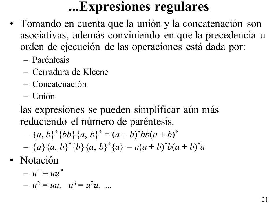 20 Ejemplos LenguajeExpresión regular { } {0} 0 {001} = {0}{0}{1} 001 {0, 1} = {0} {1} 0 + 1 {0, 10} = {0} {10} 0 + 10 {1, }{001} (1 + )001 {110} * {0