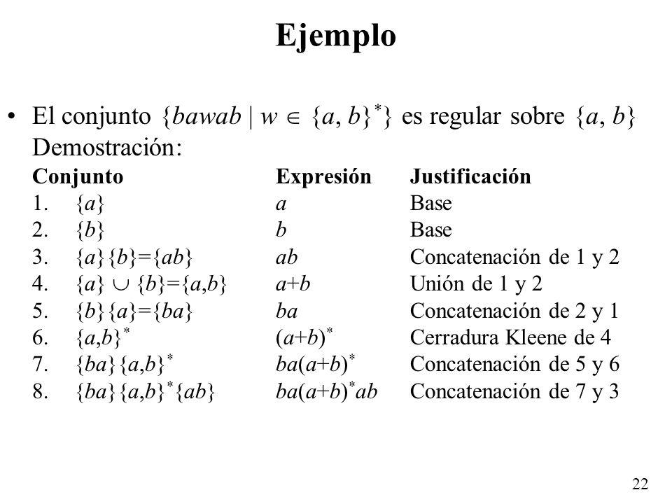 21...Expresiones regulares Tomando en cuenta que la unión y la concatenación son asociativas, además conviniendo en que la precedencia u orden de ejec