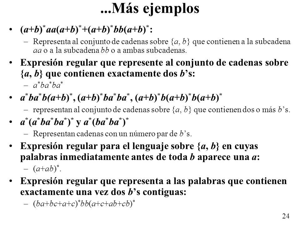 23 Lenguajes regulares Definición: Un lenguaje es regular si se puede representar por una expresión regular o conjunto regular.