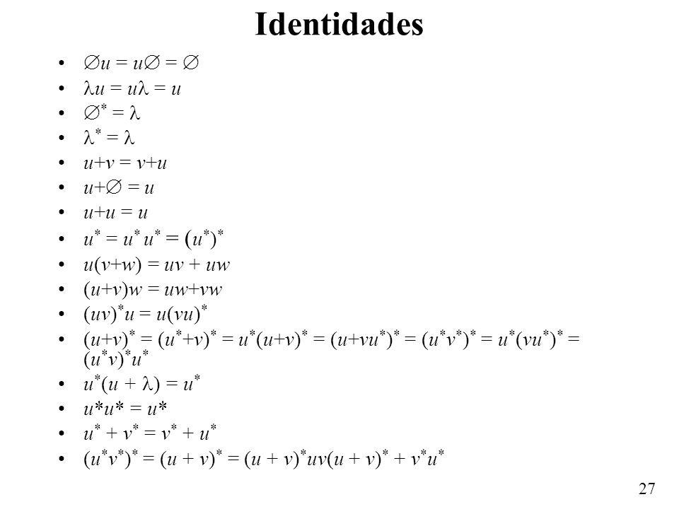26 Equivalencias Una expresión regular define un patrón; una palabra pertenece al lenguaje definido por esa expresión regular si y sólo si sigue el pa