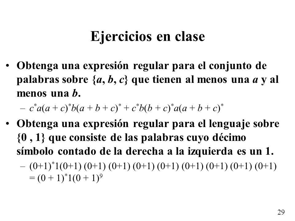 28 Ejemplos Expresión que representa las cadenas sobre {a, b} que no contienen la subcadena aa: –b * (ab + ) * +b * (ab + ) * a = b * (ab + ) * ( +a)