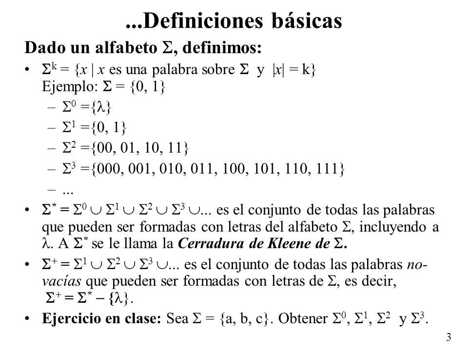 2 Definiciones básicas Alfabeto: conjunto no vacío de símbolos. Es usual utilizar para denotar un alfabeto. Ejemplos: {0, 1}, {a, b, c}, {0, 11}, {(0,