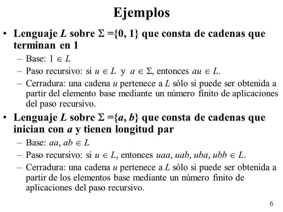 5 Lenguajes Lenguaje sobre un alfabeto es un conjunto finito o infinito de palabras sobre, es decir, es un subconjunto de *. Lenguajes interesantes no