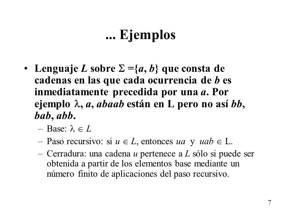 6 Ejemplos Lenguaje L sobre ={0, 1} que consta de cadenas que terminan en 1 –Base: 1 L –Paso recursivo: si u L y a, entonces au L. –Cerradura: una cad
