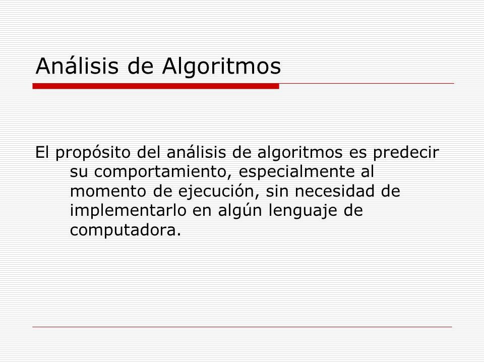 Análisis de Algoritmos El propósito del análisis de algoritmos es predecir su comportamiento, especialmente al momento de ejecución, sin necesidad de