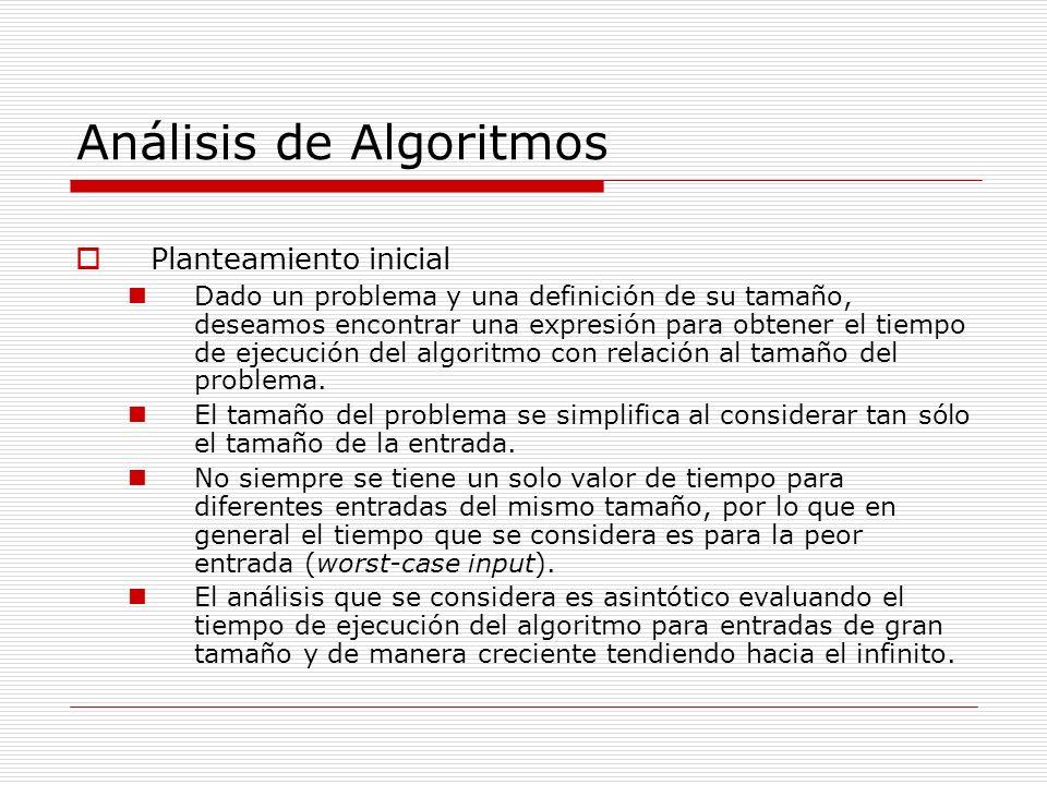 Análisis de Algoritmos Planteamiento inicial Dado un problema y una definición de su tamaño, deseamos encontrar una expresión para obtener el tiempo d