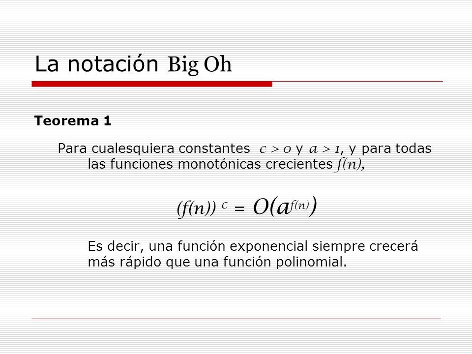 La notación Big Oh Teorema 1 Para cualesquiera constantes c > 0 y a > 1, y para todas las funciones monotónicas crecientes f(n), (f(n)) c = O(a f(n) )