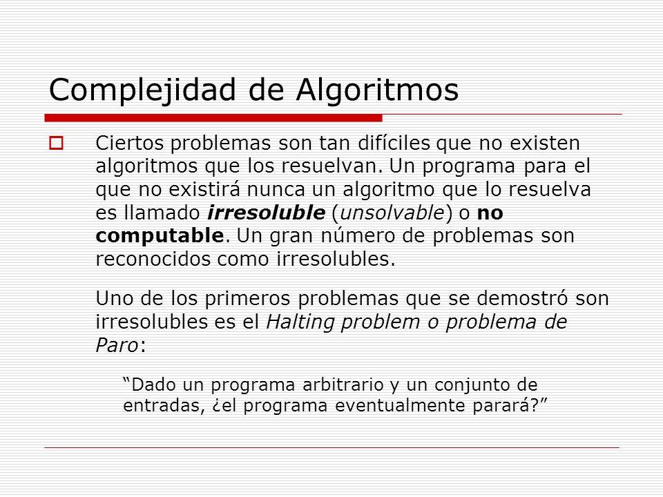 Complejidad de Algoritmos Ciertos problemas son tan difíciles que no existen algoritmos que los resuelvan. Un programa para el que no existirá nunca u