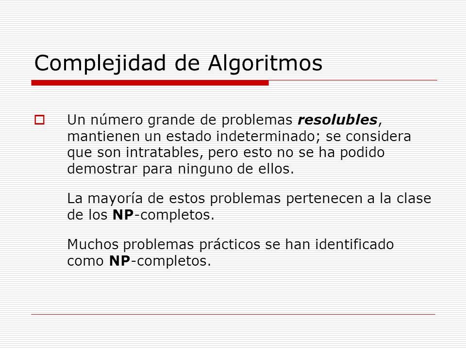 Complejidad de Algoritmos Un número grande de problemas resolubles, mantienen un estado indeterminado; se considera que son intratables, pero esto no