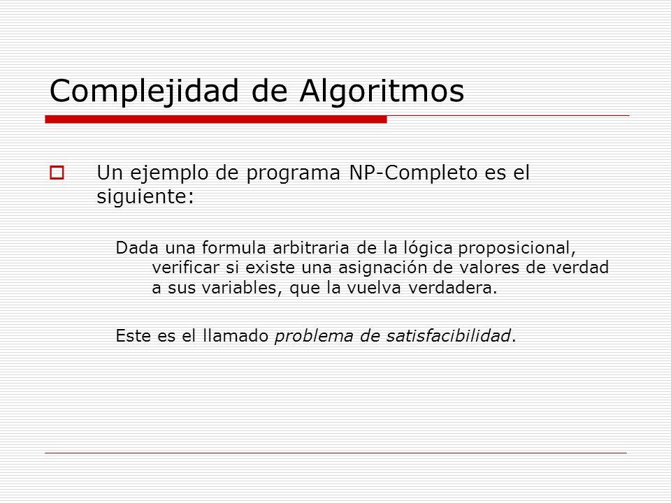 Complejidad de Algoritmos Un ejemplo de programa NP-Completo es el siguiente: Dada una formula arbitraria de la lógica proposicional, verificar si exi