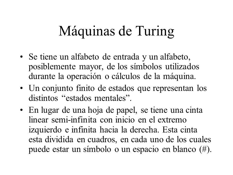 Máquinas de Turing Se tiene un alfabeto de entrada y un alfabeto, posiblemente mayor, de los símbolos utilizados durante la operación o cálculos de la