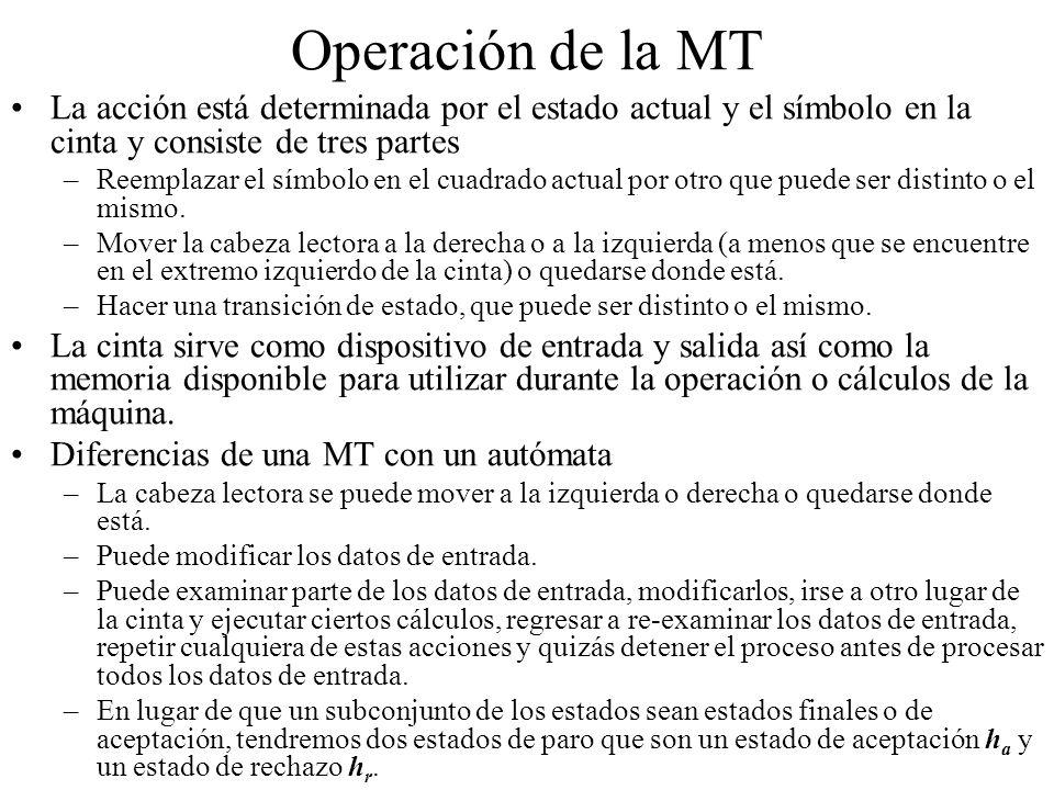 Operación de la MT La acción está determinada por el estado actual y el símbolo en la cinta y consiste de tres partes –Reemplazar el símbolo en el cua