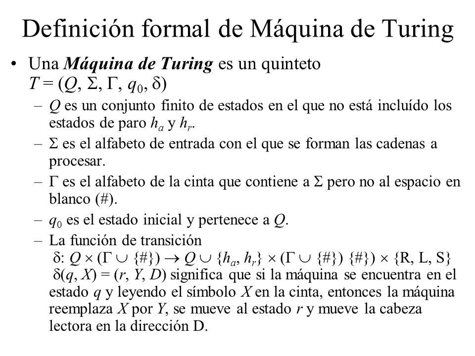 Definición formal de Máquina de Turing Una Máquina de Turing es un quinteto T = (Q,,, q 0, ) –Q es un conjunto finito de estados en el que no está inc