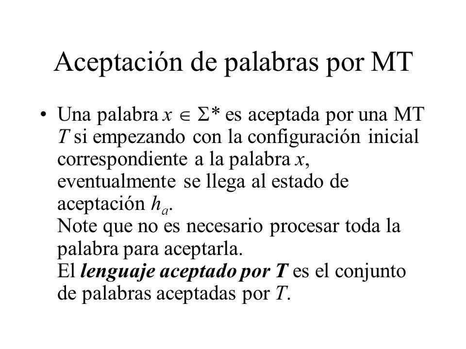 Aceptación de palabras por MT Una palabra x * es aceptada por una MT T si empezando con la configuración inicial correspondiente a la palabra x, event