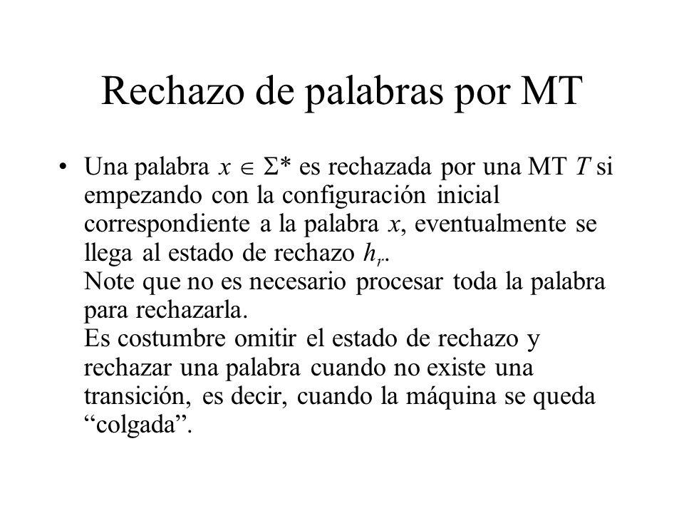 Rechazo de palabras por MT Una palabra x * es rechazada por una MT T si empezando con la configuración inicial correspondiente a la palabra x, eventua