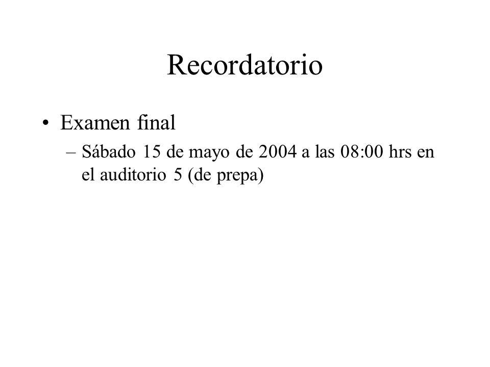 Recordatorio Examen final –Sábado 15 de mayo de 2004 a las 08:00 hrs en el auditorio 5 (de prepa)