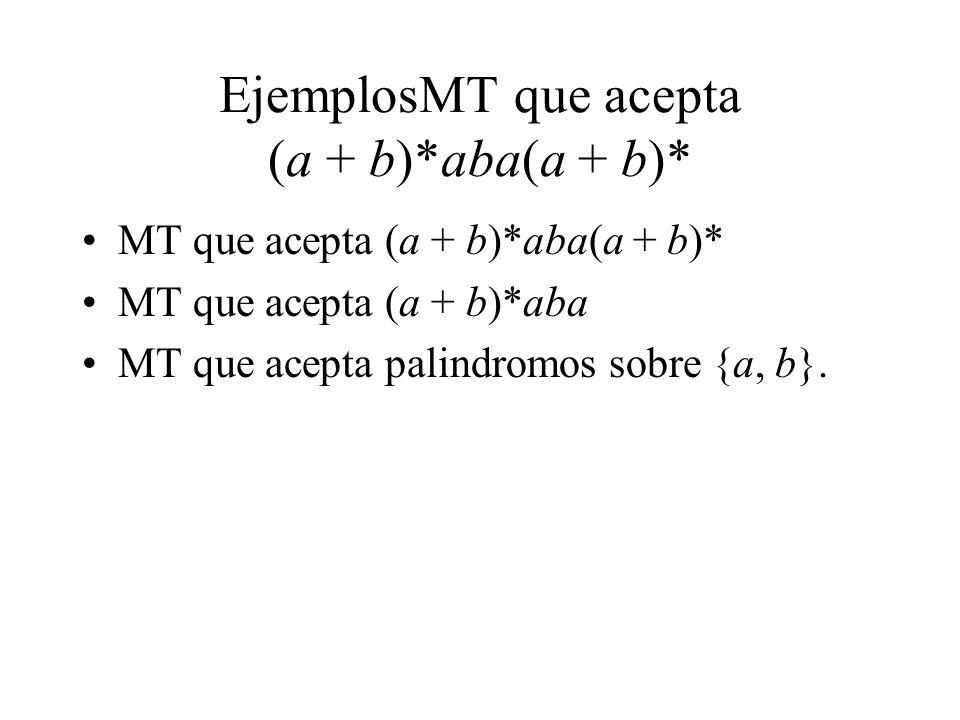 EjemplosMT que acepta (a + b)*aba(a + b)* MT que acepta (a + b)*aba(a + b)* MT que acepta (a + b)*aba MT que acepta palindromos sobre {a, b}.