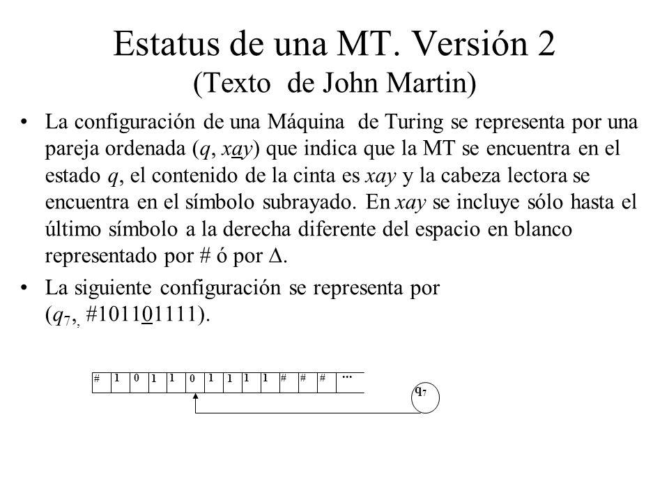 Estatus de una MT. Versión 2 (Texto de John Martin) La configuración de una Máquina de Turing se representa por una pareja ordenada (q, xay) que indic