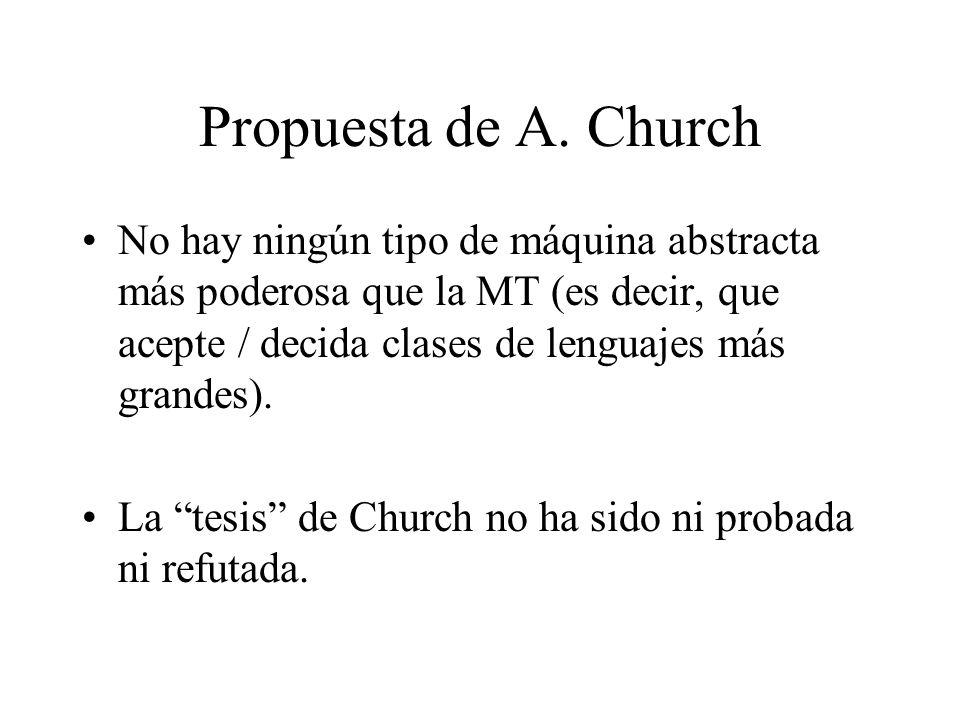 Propuesta de A. Church No hay ningún tipo de máquina abstracta más poderosa que la MT (es decir, que acepte / decida clases de lenguajes más grandes).