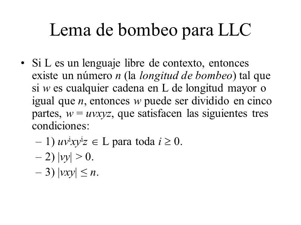 Lema de bombeo para LLC Si L es un lenguaje libre de contexto, entonces existe un número n (la longitud de bombeo) tal que si w es cualquier cadena en