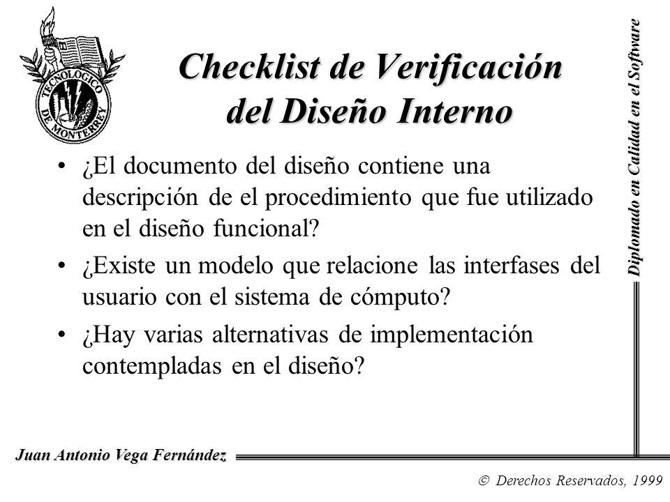 Diplomado en Calidad en el Software Derechos Reservados, 1999 Juan Antonio Vega Fernández Checklist de Verificación del Diseño Interno ¿El documento d