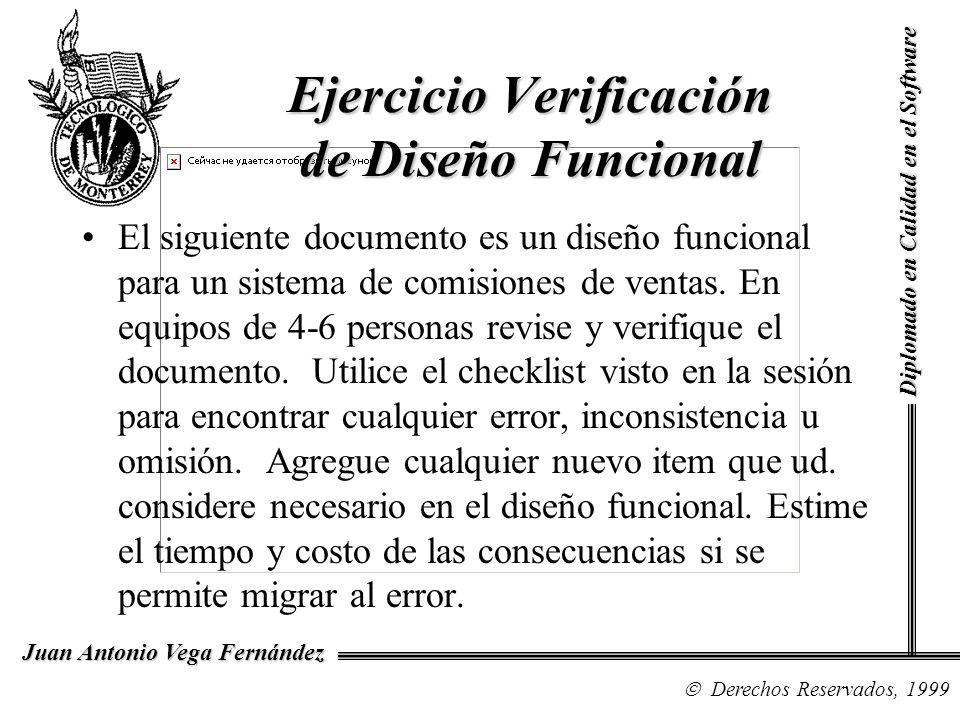 Diplomado en Calidad en el Software Derechos Reservados, 1999 Juan Antonio Vega Fernández El siguiente documento es un diseño funcional para un sistem