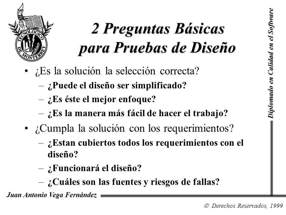 Diplomado en Calidad en el Software Derechos Reservados, 1999 Juan Antonio Vega Fernández Pruebas de Diseño La mejor manera de probar diseños es por medio de las revisiones formales.