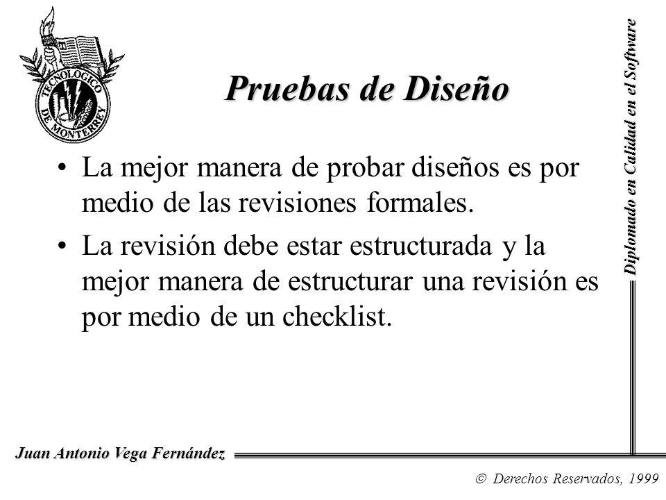Diplomado en Calidad en el Software Derechos Reservados, 1999 Juan Antonio Vega Fernández Pruebas de Diseño La mejor manera de probar diseños es por m