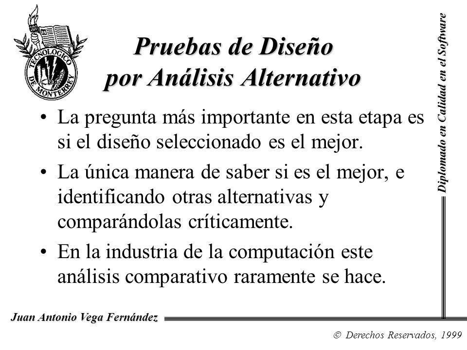 Diplomado en Calidad en el Software Derechos Reservados, 1999 Juan Antonio Vega Fernández Revisión con Análisis Alternativo Los diseñadores debe describir las alternativas que fueron consideradas, pero que fueron descartadas y debe indicar por qué el diseño seleccionado es el mejor.