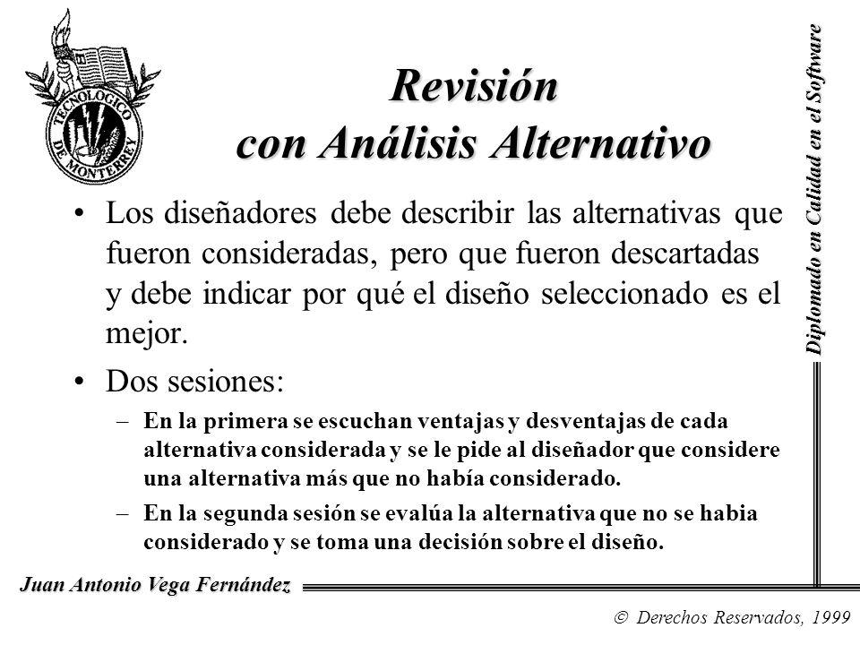 Diplomado en Calidad en el Software Derechos Reservados, 1999 Juan Antonio Vega Fernández Revisión con Análisis Alternativo Los diseñadores debe descr