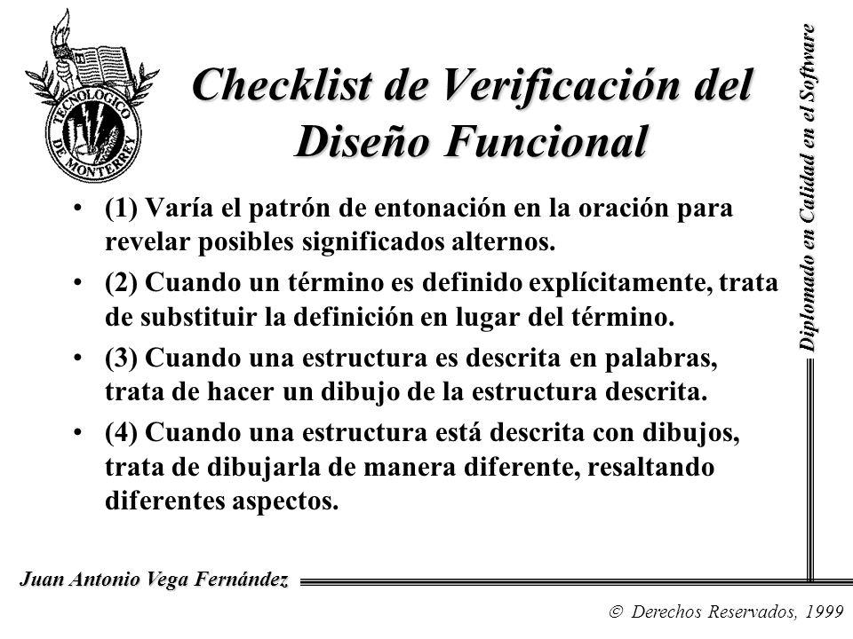 Diplomado en Calidad en el Software Derechos Reservados, 1999 Juan Antonio Vega Fernández Checklist de Verificación del Diseño Funcional (5) Cuando hay una ecuación, trata de expresar el significado de la ecuación en palabras.