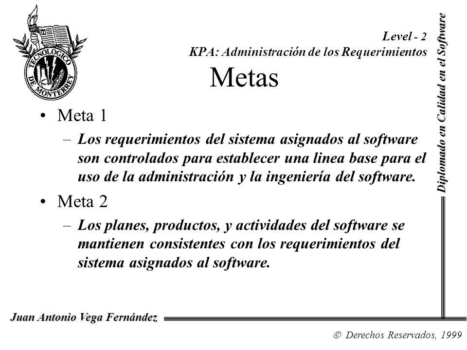 Diplomado en Calidad en el Software Derechos Reservados, 1999 Juan Antonio Vega Fernández Level - 2 KPA: Administración de los Requerimientos Metas Me