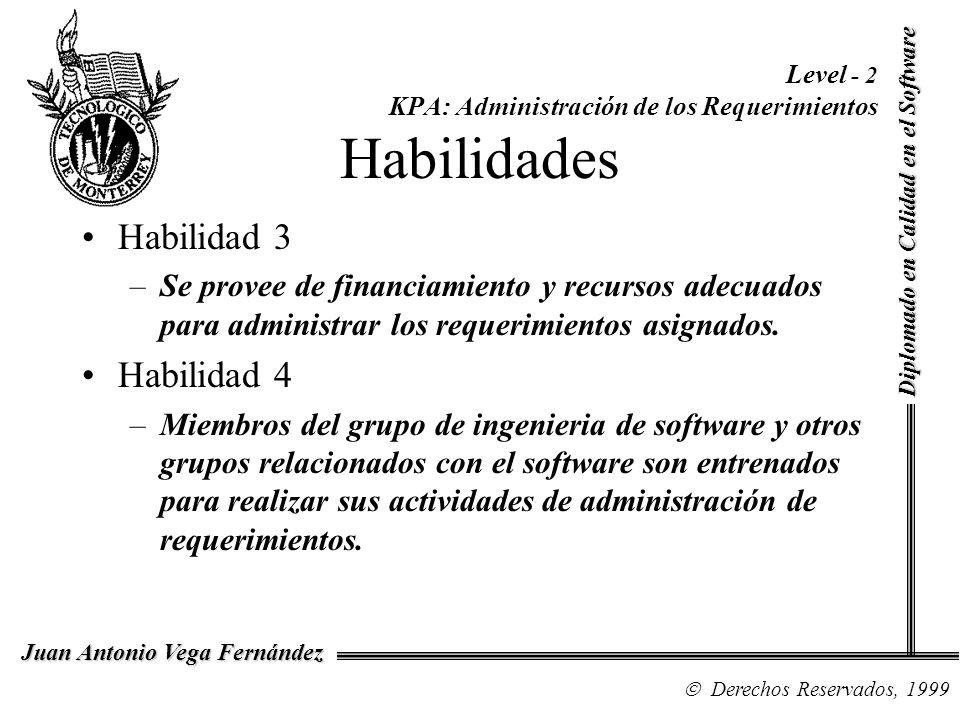 Diplomado en Calidad en el Software Derechos Reservados, 1999 Juan Antonio Vega Fernández Level - 2 KPA: Administración de los Requerimientos Habilida