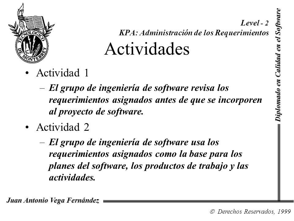 Diplomado en Calidad en el Software Derechos Reservados, 1999 Juan Antonio Vega Fernández Level - 2 KPA: Administración de los Requerimientos Activida