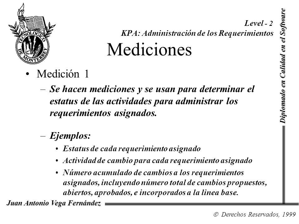 Diplomado en Calidad en el Software Derechos Reservados, 1999 Juan Antonio Vega Fernández Level - 2 KPA: Administración de los Requerimientos Medicion