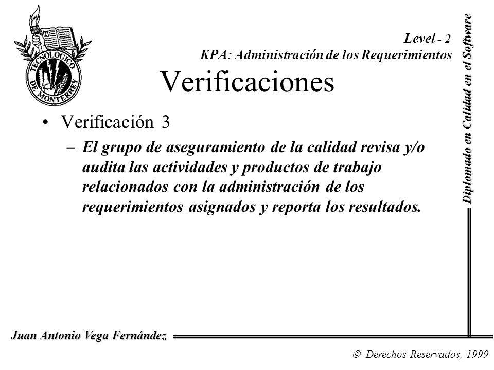 Diplomado en Calidad en el Software Derechos Reservados, 1999 Juan Antonio Vega Fernández Level - 2 KPA: Administración de los Requerimientos Verifica