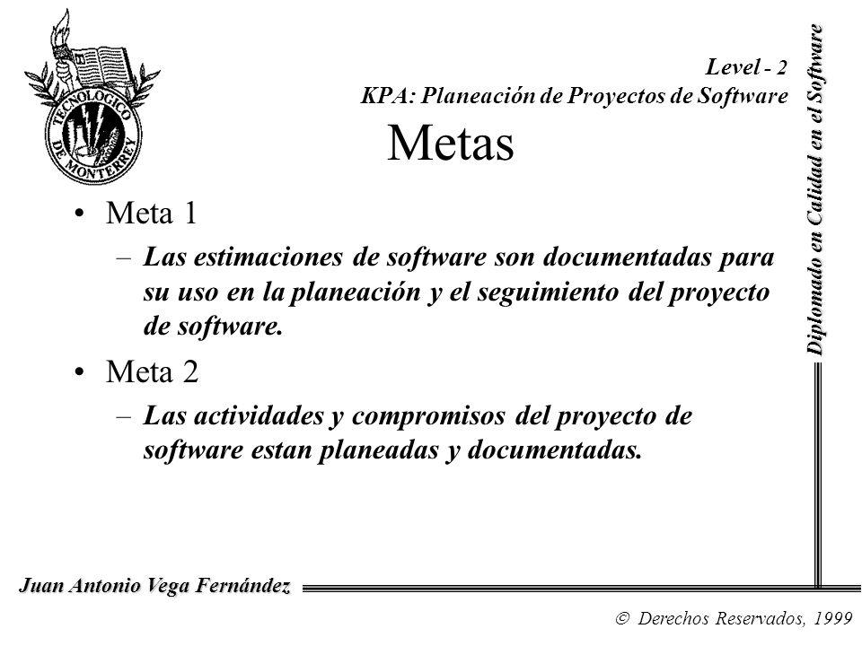 Diplomado en Calidad en el Software Derechos Reservados, 1999 Juan Antonio Vega Fernández Level - 2 KPA: Planeación de Proyectos de Software Metas Met