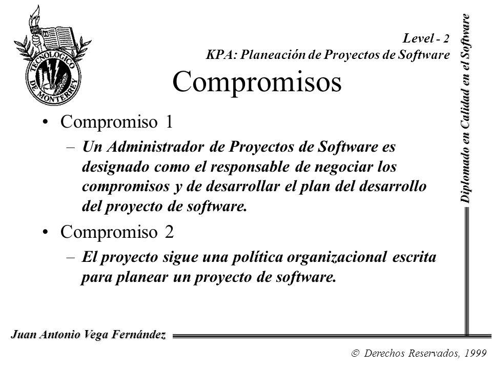 Diplomado en Calidad en el Software Derechos Reservados, 1999 Juan Antonio Vega Fernández Level - 2 KPA: Planeación de Proyectos de Software Compromis