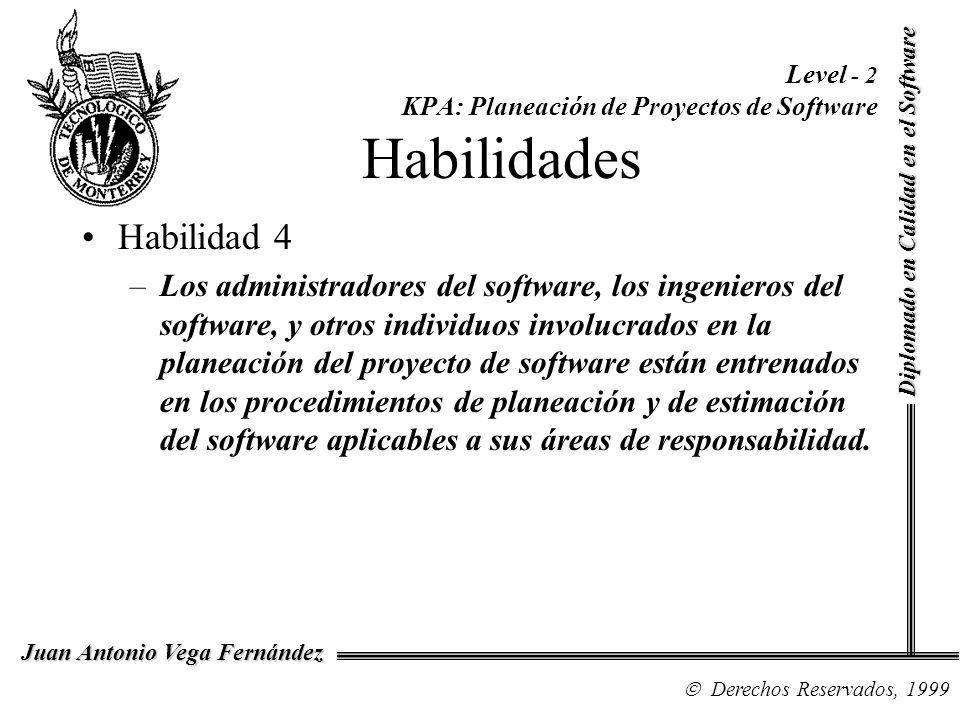 Diplomado en Calidad en el Software Derechos Reservados, 1999 Juan Antonio Vega Fernández Level - 2 KPA: Planeación de Proyectos de Software Habilidad