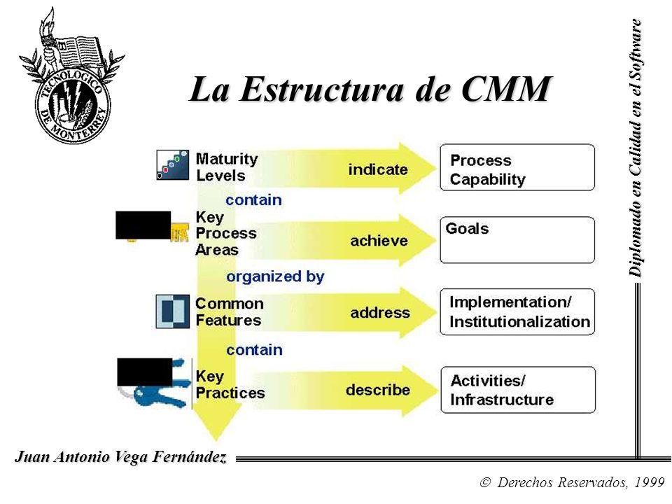 Diplomado en Calidad en el Software Derechos Reservados, 1999 Juan Antonio Vega Fernández La Estructura de CMM