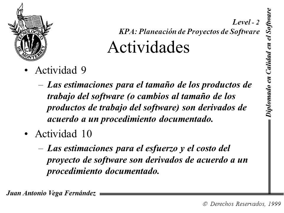 Diplomado en Calidad en el Software Derechos Reservados, 1999 Juan Antonio Vega Fernández Level - 2 KPA: Planeación de Proyectos de Software Actividad