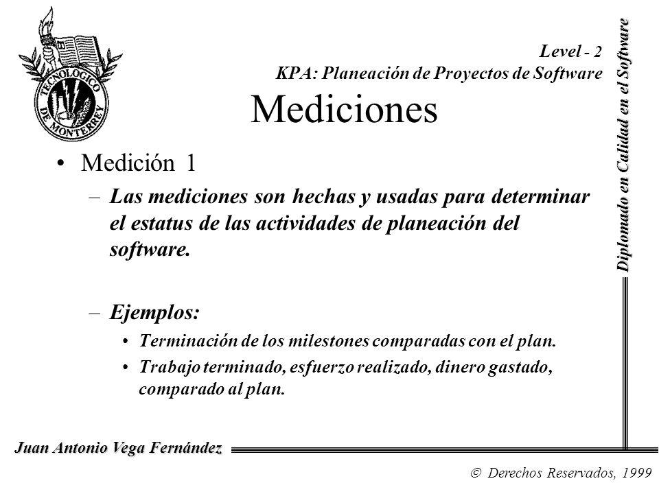Diplomado en Calidad en el Software Derechos Reservados, 1999 Juan Antonio Vega Fernández Level - 2 KPA: Planeación de Proyectos de Software Medicione