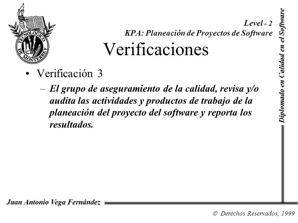 Diplomado en Calidad en el Software Derechos Reservados, 1999 Juan Antonio Vega Fernández Level - 2 KPA: Planeación de Proyectos de Software Verificac