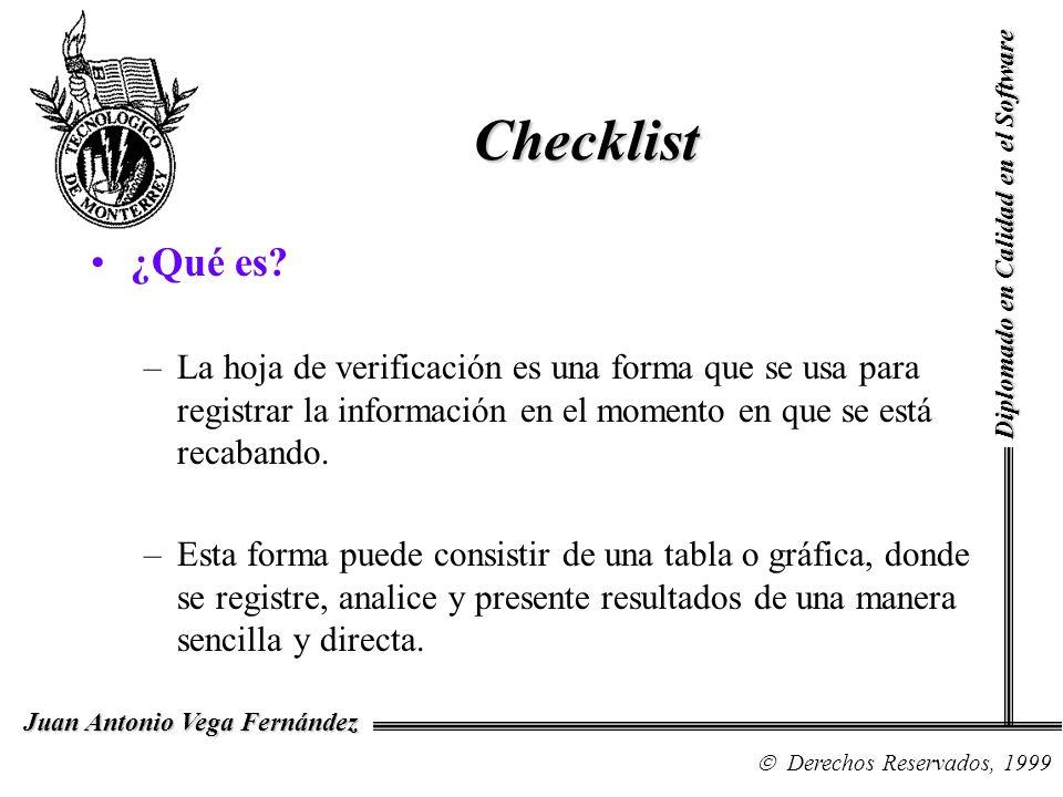 Checklist ¿Qué es? –La hoja de verificación es una forma que se usa para registrar la información en el momento en que se está recabando. –Esta forma