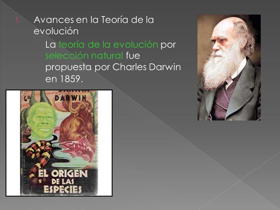 1. Avances en la Teoría de la evolución La teoría de la evolución por selección natural fue propuesta por Charles Darwin en 1859.