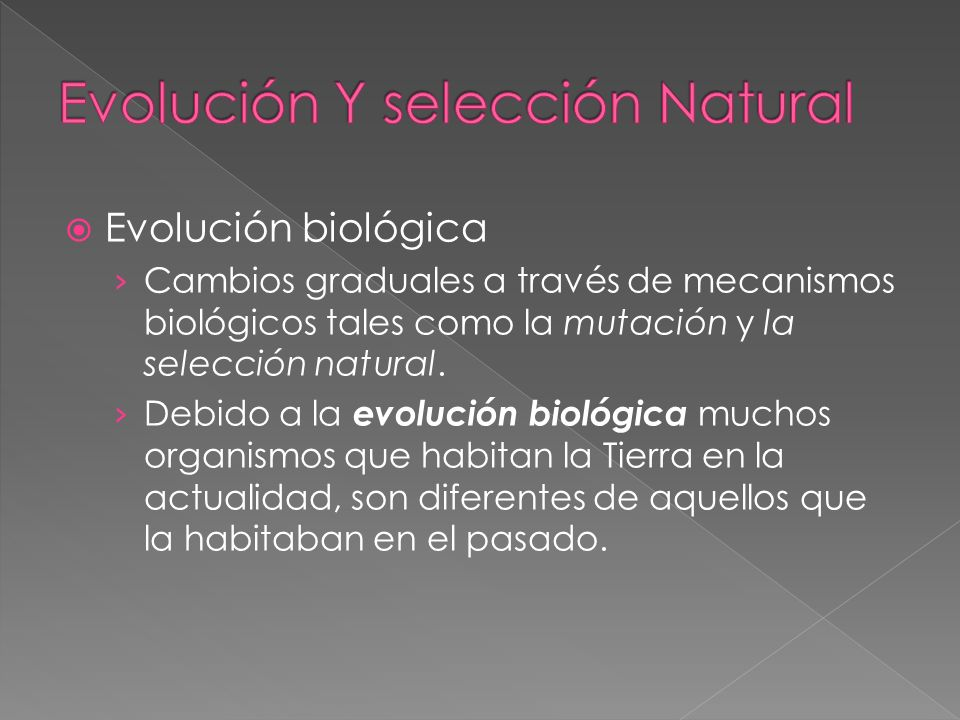 Evolución biológica Cambios graduales a través de mecanismos biológicos tales como la mutación y la selección natural. Debido a la evolución biológica